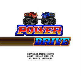 Title screen of Power Drive on the Arcade.