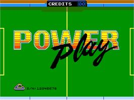 Title screen of Power Play on the Arcade.