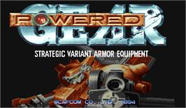 Title screen of Powered Gear: Strategic Variant Armor Equipment on the Arcade.