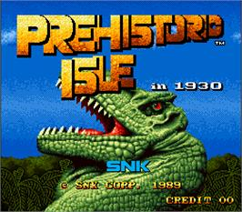 Title screen of Prehistoric Isle in 1930 on the Arcade.
