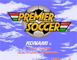 Title screen of Premier Soccer on the Arcade.