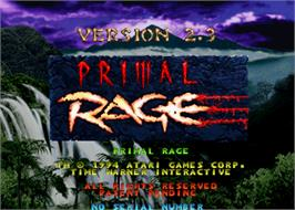 Title screen of Primal Rage on the Arcade.