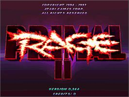 Title screen of Primal Rage 2 on the Arcade.