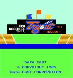 Title screen of Pro Baseball Skill Tryout on the Arcade.