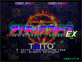 Title screen of Psychic Force EX on the Arcade.
