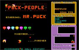 Title screen of Puck People on the Arcade.
