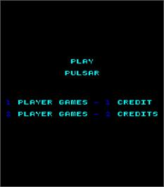Title screen of Pulsar on the Arcade.