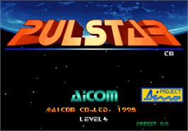 Title screen of Pulstar on the Arcade.