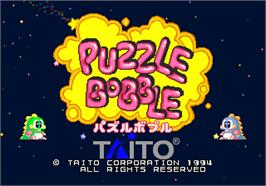 Title screen of Puzzle Bobble on the Arcade.