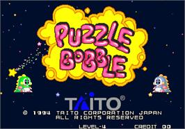 Title screen of Puzzle Bobble / Bust-A-Move on the Arcade.