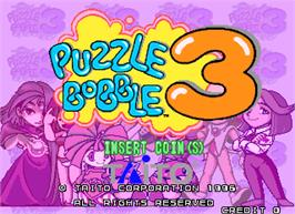 Title screen of Puzzle Bobble 3 on the Arcade.