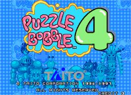 Title screen of Puzzle Bobble 4 on the Arcade.