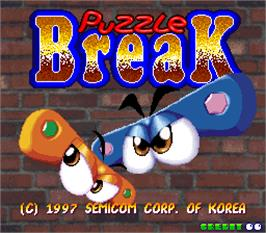 Title screen of Puzzle Break on the Arcade.