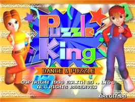 Title screen of Puzzle King on the Arcade.