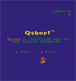 Title screen of Q*bert on the Arcade.