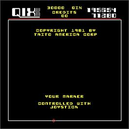 Title screen of Qix on the Arcade.