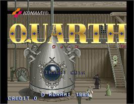 Title screen of Quarth on the Arcade.