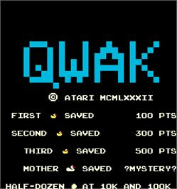 Title screen of Qwak on the Arcade.