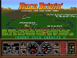 Title screen of Race Drivin' on the Arcade.