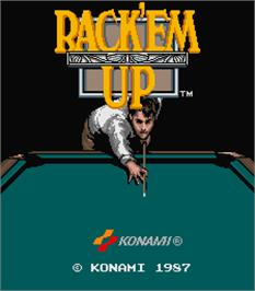 Title screen of Rack 'em Up on the Arcade.