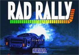 Title screen of Rad Rally on the Arcade.