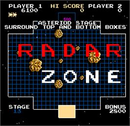 Title screen of Radar Zone on the Arcade.