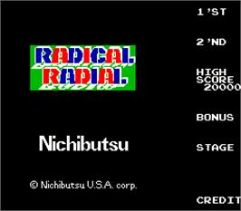 Title screen of Radical Radial on the Arcade.