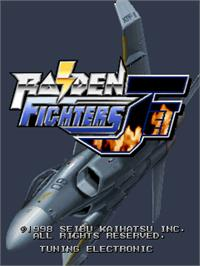 Title screen of Raiden Fighters Jet on the Arcade.