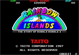Title screen of Rainbow Islands on the Arcade.