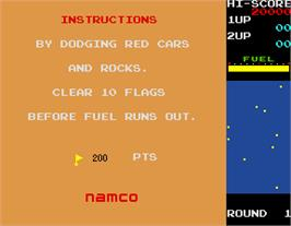 Title screen of Rally X on the Arcade.