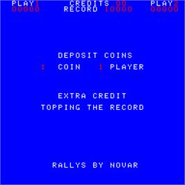 Title screen of Rallys on the Arcade.
