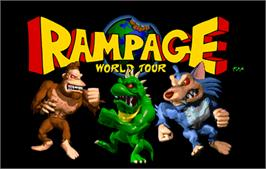 Title screen of Rampage: World Tour on the Arcade.