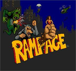 Title screen of Rampage on the Arcade.