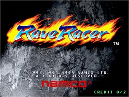 Title screen of Rave Racer on the Arcade.