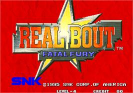 Title screen of Real Bout Fatal Fury / Real Bout Garou Densetsu on the Arcade.