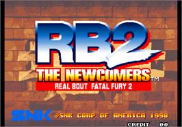 Title screen of Real Bout Fatal Fury 2 - The Newcomers / Real Bout Garou Densetsu 2 - the newcomers on the Arcade.
