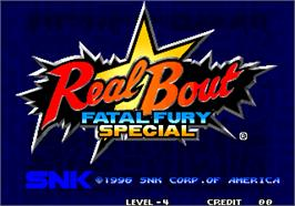 Title screen of Real Bout Fatal Fury Special / Real Bout Garou Densetsu Special on the Arcade.