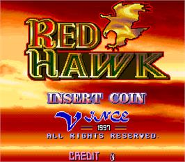 Title screen of Red Hawk on the Arcade.