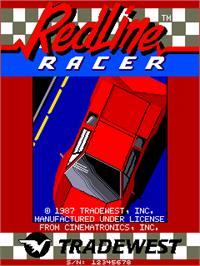 Title screen of Redline Racer on the Arcade.