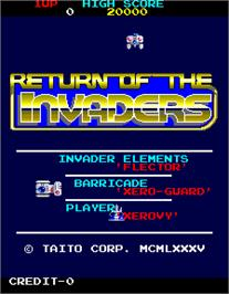Title screen of Return of the Invaders on the Arcade.