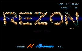 Title screen of Rezon on the Arcade.