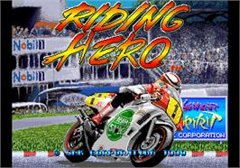 Title screen of Riding Hero on the Arcade.