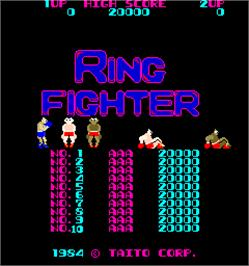 Title screen of Ring Fighter on the Arcade.