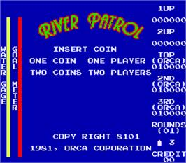Title screen of River Patrol on the Arcade.