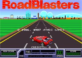 Title screen of Road Blasters on the Arcade.