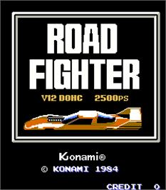 Title screen of Road Fighter on the Arcade.