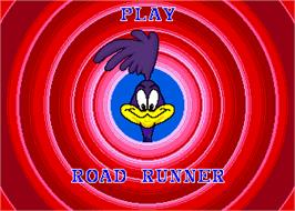 Title screen of Road Runner on the Arcade.