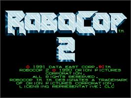 Title screen of Robocop 2 on the Arcade.