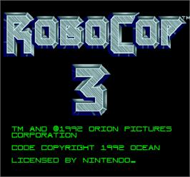 Title screen of Robocop 3 on the Arcade.