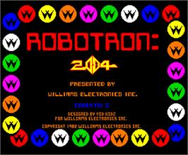 Title screen of Robotron on the Arcade.